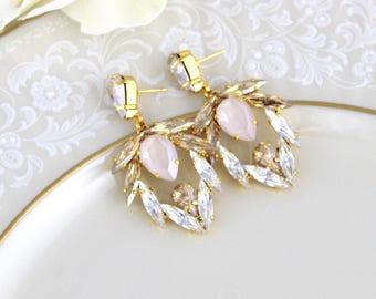 Gold chandelier earrings, Statement earrings, Bridal jewelry, Bridal earrings, Ivory cream, Swarovski earrings, Champagne, Large earrings