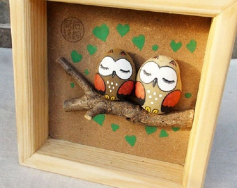 Hand-drawn, couple owls, branches, cute, original, hand-painted pebbles, stone painting