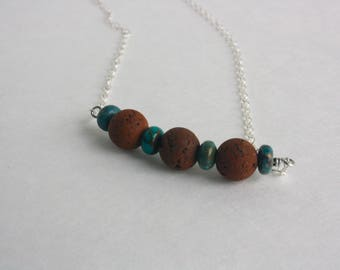 Essential Oil Diffuser Necklace with Rust Brown Lava Stones and Turquoise Nuggets with Sterling Silver Chain // Aromatherapy Necklace