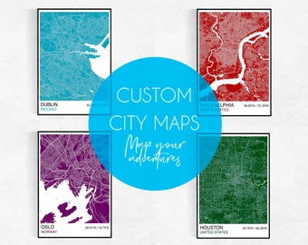 MAKE MAPS, Choose Your Own City, Custom City Map Poster, Custom Map Print, Street Map, Wedding, Birthday, Graduation, Map Wall Art