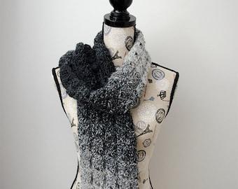 PDF Crochet Pattern - Gray Shells Scarf