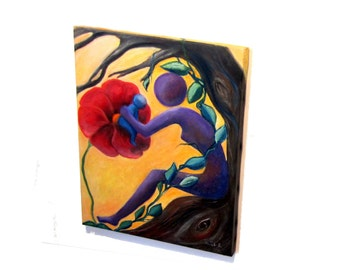 Oil on canvas. Surreal art. Mother nature. Surreal painting. Surrealist. Motherhood art. Mother nature oil painting. Mother's day gift.