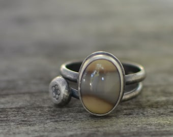 jellybean stacking rings - size US 9 - jasper and sterling silver
