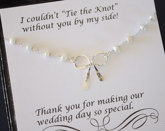 5 Bridesmaid Tie the Knot Pearl Necklace, Bridesmaid Gift, Sterling Silver Bow,  Knot Necklace, Thank you card, Pearl Necklace, Ribbon