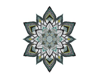 Green Black and White Mandala Art Print