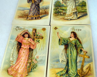 Lot of 4 Antique Postcards - Hope Charity Patience and Innocence - Young Women Gold Embossed Religious Vintage Post Cards