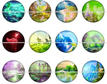 "Fantasy Magnets, Fantasy Pins, Castle Magnets, Castle Pins, Fantasy Dream Magnets, Fantasy Dream Pins, 1"" Flat, Hollow Bk, Cabochons, 12 ct"