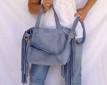 Jean Leather Tote Bag with Fringe Blue Suede Crossbody Shoulder Large Medium Boho OLA Olaccessories FREE SHIPPING