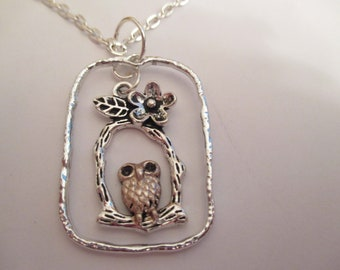 Owl on Branch Silver Pendant with or without Chain
