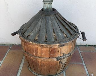"Old French GreenGlass ""Bonbonne"" Wine Bottle wood"