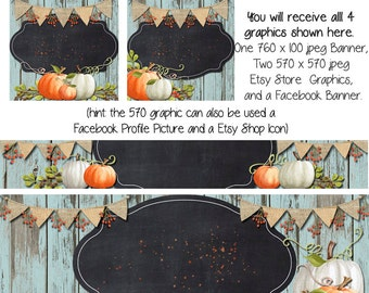Fall Pumpkin Etsy and Facebook DIY Set, Blank Etsy Banner and Facebook Set - Pumpkin Party, Halloween Banner