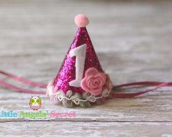 Birthday Party Hat, Birthday Hat, Baby Birthday Party Hat, Party Hat, Glitter birthday hat, Photo prop, baby photo prop.