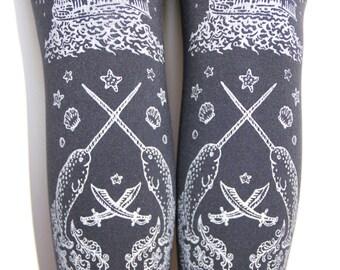 Piraten Sie Tintenfisch Strumpfhosen Silber auf Schiefer dunkel grau alle Größen Tattoo Strumpfhose Sailor Octopus Narwal Anker Lolita