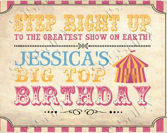 Vintage Circus Party Sign - INSTANT DOWNLOAD - partially Editable & Printable Birthday Poster Decorations by Sassaby Parties