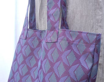 Fabric Grocery Bag Carry All Tote Bag Heavy Upholstery Purple Teal