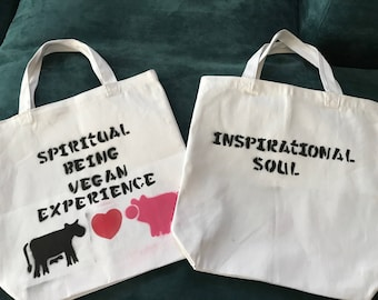 Canvas Tote Bag  13x13 Spiritual Being, Vegan Experience