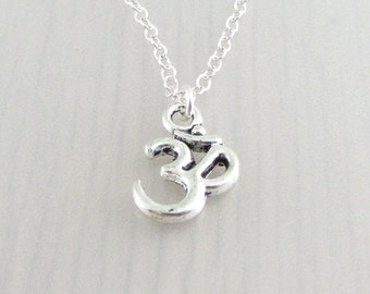 Om Charm Necklace, Silver Yoga Necklace, Aum Pendant, Ohm Necklace, Yoga Gift, Silver Plated, Stainless Steel, Sterling Silver Chain