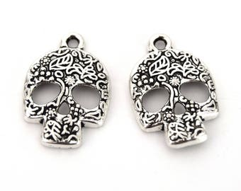 Skulls floral skull silver 24mm B59 - Halloween Skulls Floral Skull for Halloween Silver 24mm set of 4/8 units