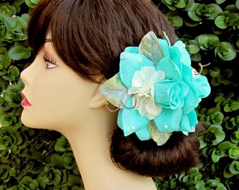 Teal Rose Fascinator, Aquamarine Rose Hair Clip, Wedding Floral Headpiece, Pinup, Rockabilly, Wedding Accessorie, Bridal Flowers