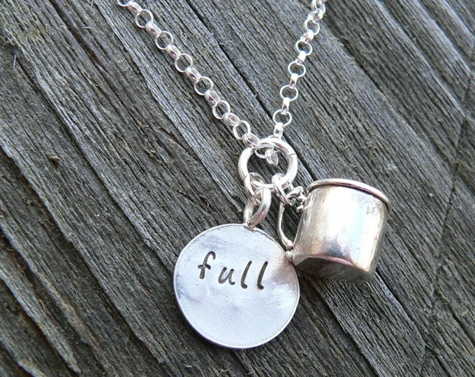 Cup Half Full...Cup Half Empty - a Unique Solid Sterling Silver Charm necklace - Hand Stamped - Customize if you wish
