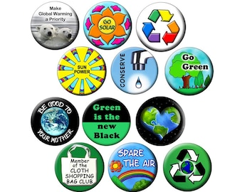 "100 Pack of  Earth Day Climate  Change Buttons - RECYCLERS PACK - I00 Global Warming - 1.25"" Pin-Back Ecology Buttons"