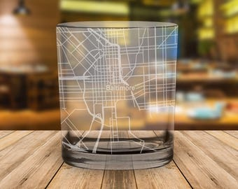 Baltimore City Map Whiskey Glass Gift