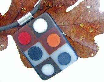 Chocolate Tic Tac Matte GlassPendant, Handmade Fused Glass Jewelry from North Carolina