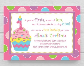 BIRTHDAY INVITATION // Cupcake Sweet First 1st Birthday Party Invitation // Customizable // DIY // Digital File