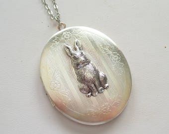 Silver Rabbit Locket, Silver Bunny Locket, Bunny Rabbit Locket, Large Oval Locket, Silver Floral Locket, Antiqued Silver Plated Chain