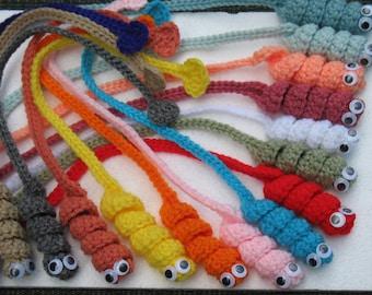 Set Of 3 Crochet Book Worm Book Mark.