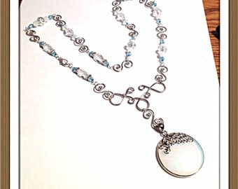 Handmade MWL moonstone and crystal necklace with forged wire designs. 0275