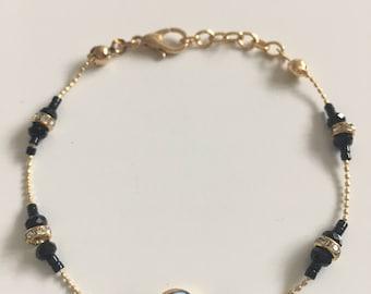 Gold Filled Black Evil Eye Lucky Charm Handmade Bracelet.