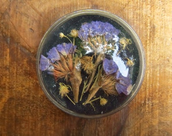 Vintage Dried Flower Glass Dome Paperweight - Illinois Vintage Paperweight - Dome Magnifier
