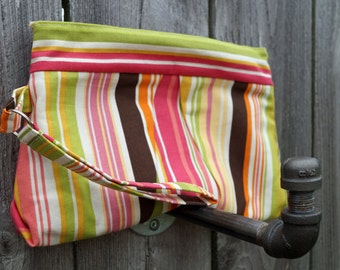CLEARANCE - Wristlet - Clutch Purse - Clutch Bag - Small Purse - Pleated Clutch - Pink, Green & Brown Stripes - Gift under 30