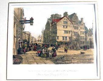 Edinburgh High Street West Bow Lawn Market Lithograph - Giclee of 19th Century Edinburgh - Vintage Scotland Print - Outlander 18th Century