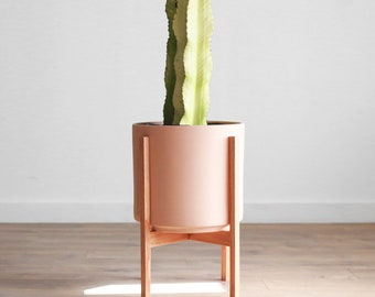 """Large Mid-Century Modern Blush Cylinder Planter Set with solid Wood Planter Stand - 12"""" Ceramic Pot"""