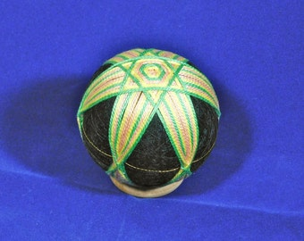Temari Ball Ornament Yellow Peach Green Star on Black Home Decor Wedding Gift
