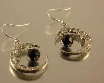 Pewter Moon Earrings with Jet Bead