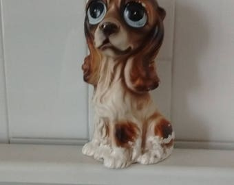 RARE Vintage BIG EYES Puppy Dog Ornament Statue 1960's
