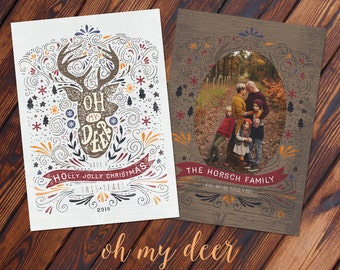 5x7 Holiday Oh My Deer Christmas Card - Photoshop PSD