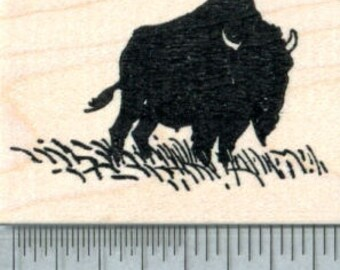 Bison Rubber Stamp, American Buffalo Silhouette G32703 Wood Mounted