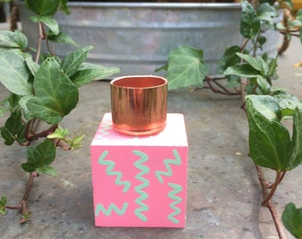 Hand Painted Wood Candle Holder - Pink and Green Zig Zags