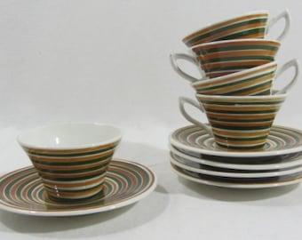 Digoin Sarreguemines, 5 French coffee cups & saucers, hand painted, 'Far west', French vintage, French cups, Sarreguemines cups, coffee set,