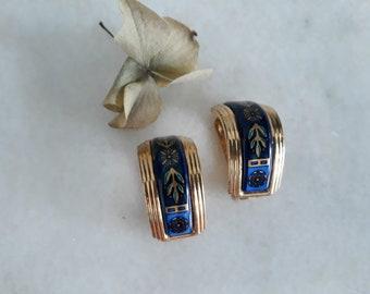 1980s Michaela Frey clip-on earrings | 80s gold plated enamel blue clip-on
