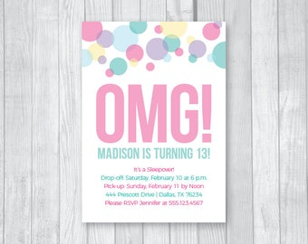 SALE Custom Printable 5x7 Tween To Teen Girl's 13th Thirteen Birthday Party Invitation - Colorful Pastel Confetti - Digital Download