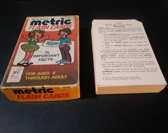 Vintage Metric Flash Cards from Milton Bradley made in USA 1970s