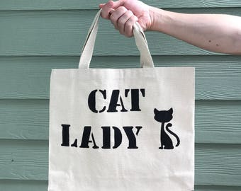 Cat Lady Tote Bag - Canvas Tote Bag - Cat Lover - Cat Bag - Funny Tote Bag - Gift Bag - Women's Bag - Novelty Tote Bag - Reusable Market Bag