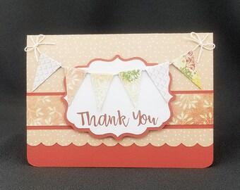 Handmade Thank You Card Burnt Orange