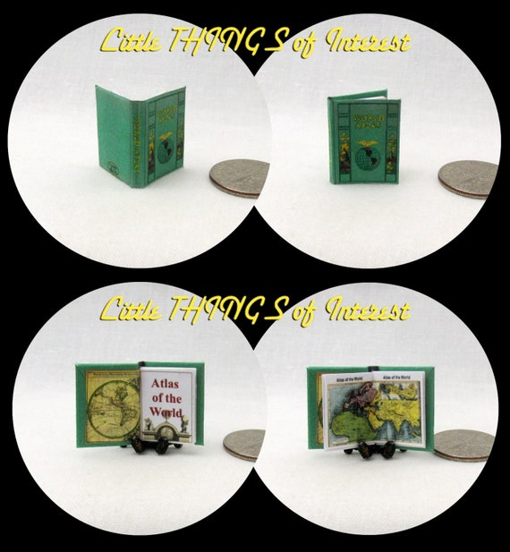 ATLAS of the WORLD Miniature Book Dollhouse 1:12 Scale Illustrated Full Color Book