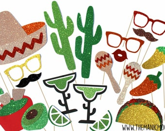Photo Booth Props - DELUXE 22 piece prop set with GLITTER - Cinco de Mayo Photobooth Props